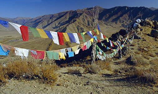 (Prayer flags/Credit: Wikipedia)