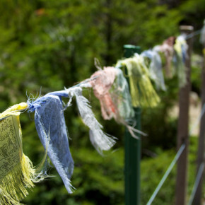 Prayer flags speak to a writing path