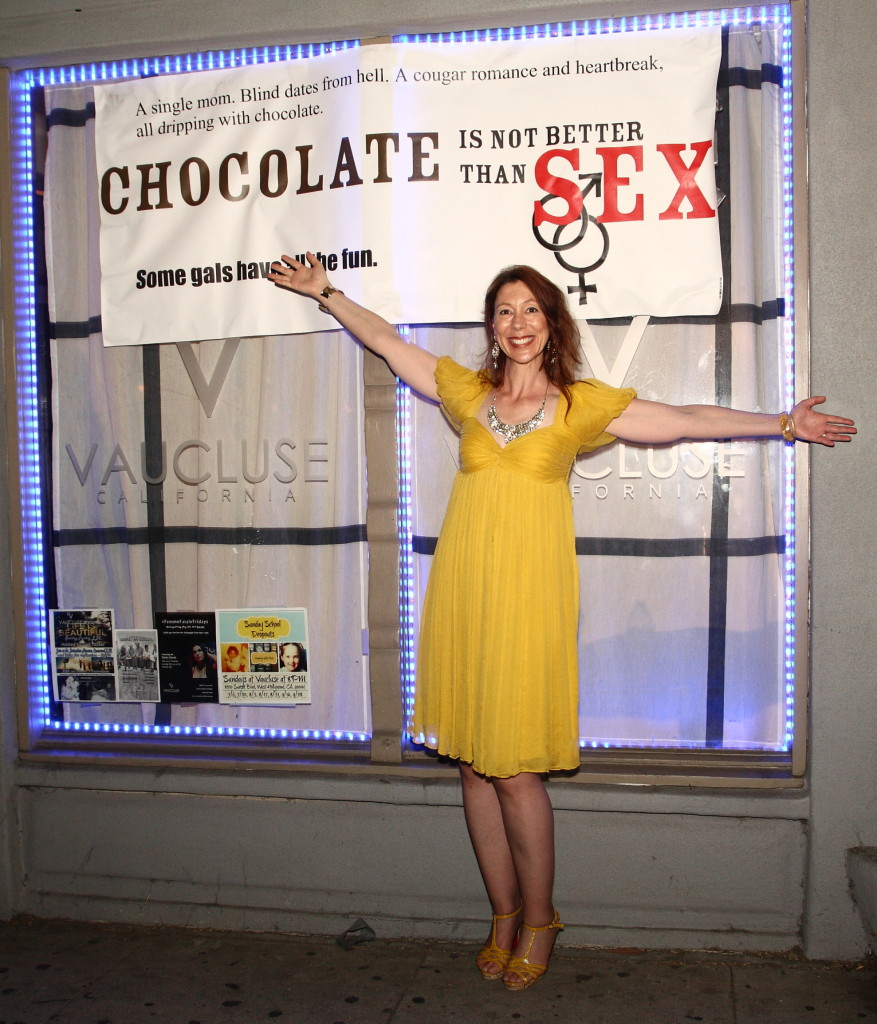 "Screenwriter Aleisha Gore celebrates ""Chocolate is Not Better Than Sex"" (Courtesy photo)"